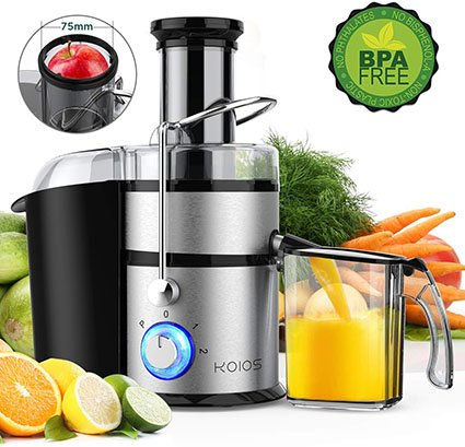 "KOIOS JE-70 Centrifugal Juicer with Big Mouth 3"" Feed Chute"