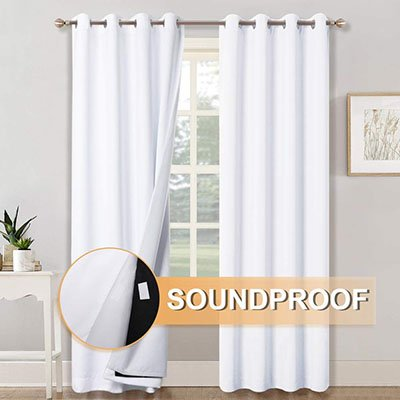 RYB HOME 3-in-1 Noise Reduction Window Curtains
