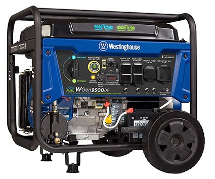 Westinghouse WGen9500DF Dual Fuel Portable Generator-9500 Rated 12500 Peak Watts