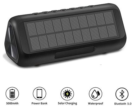 ColorFoda Solar Bluetooth 5.0 Speakers - Portable, Wireless, Waterproof